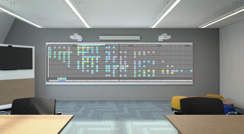 Nialli Visual Planner on large interactive wall
